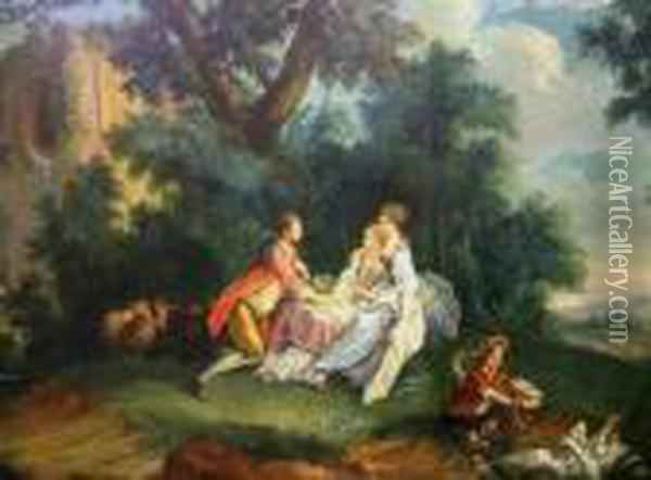 Courting Figures By A Woodland Ruin Oil Painting - Francois Boucher