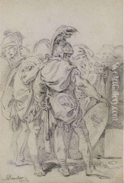 A Group Of Classically Dressed Soldiers With An Old Woman Oil Painting - Francois Boucher