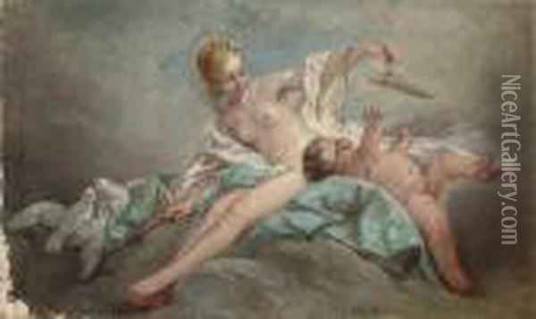 Venus And Cupid On A Cloud Oil Painting - Francois Boucher