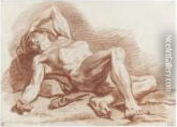 Academy Study Of A Reclining Male Nude Oil Painting - Francois Boucher