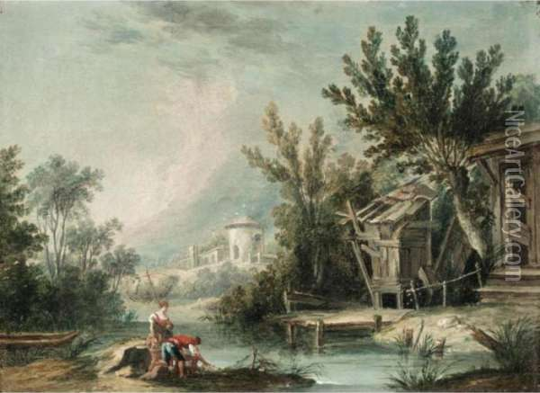 River Landscape With A Mill With Figures Fishing In The Foreground Oil Painting - Francois Boucher