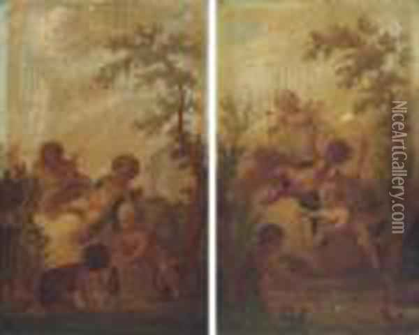 Putti Disporting In Landscapes Oil Painting - Francois Boucher