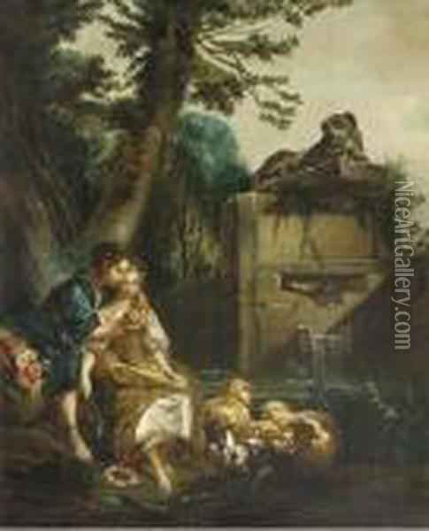 A Shepherd Teaching A Shepherdess To Play The Flute Oil Painting - Francois Boucher