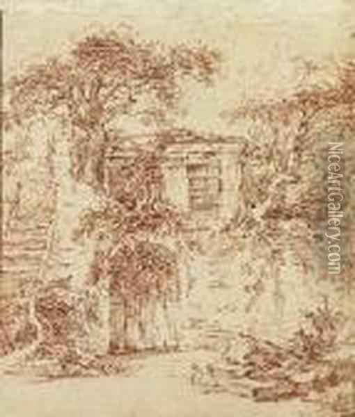 A Garden Shed Built In The Ruins Of An Old Cottage Oil Painting - Francois Boucher