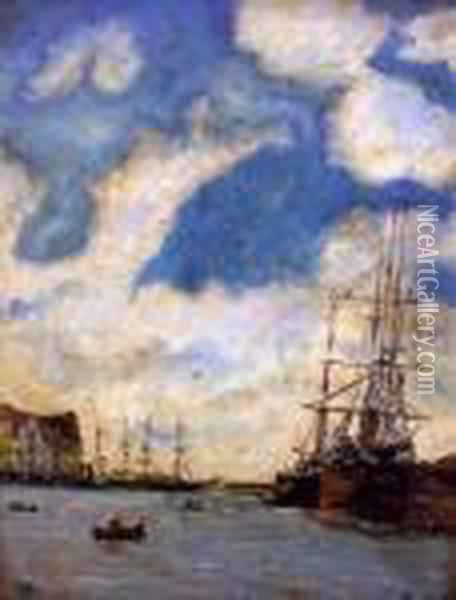 Harbour Scene With Numerous Boats Oil Painting - Eugene Boudin