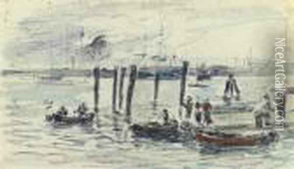 Barques Au Port Oil Painting - Eugene Boudin