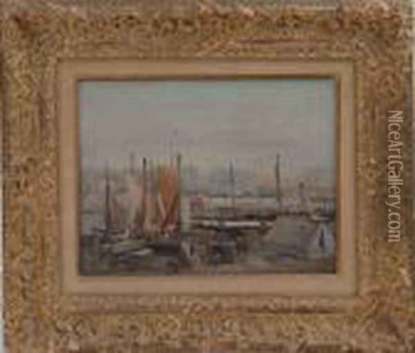 View Of A Port Oil Painting - Eugene Boudin