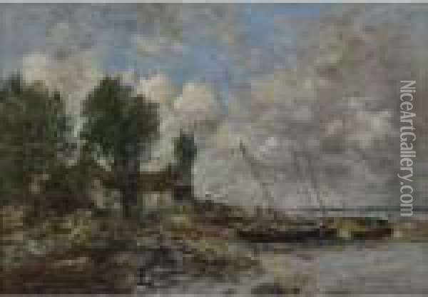 Le Rivage A Plougastel Oil Painting - Eugene Boudin