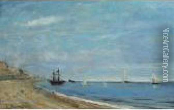 Boats Off The Coast  Bears Oil Painting - Eugene Boudin
