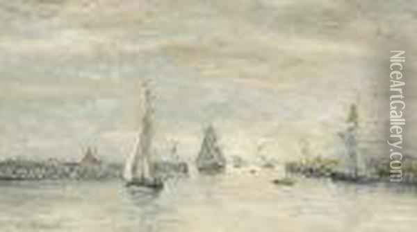 Trouville, Les Jetees Oil Painting - Eugene Boudin