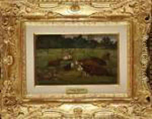 Vaches Au Repos Oil Painting - Eugene Boudin