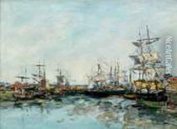 Trouville, Le Port A Maree Basse Oil Painting - Eugene Boudin
