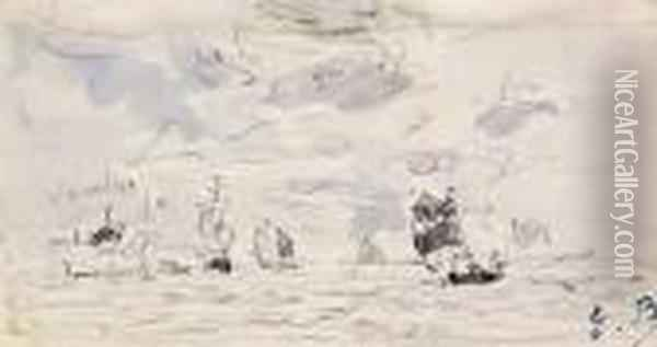 Voiliers Au Large Oil Painting - Eugene Boudin