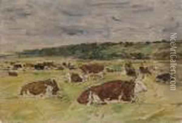 Vaches Au Paturage Oil Painting - Eugene Boudin