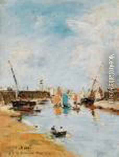Trouville. Les Jetees A Maree Basse Oil Painting - Eugene Boudin