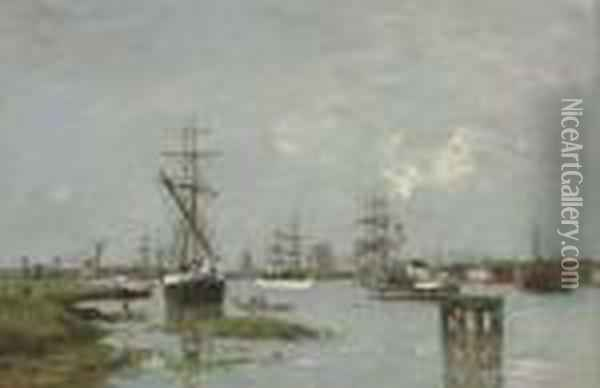 Le Port, Anvers Oil Painting - Eugene Boudin