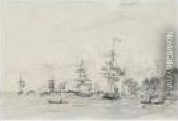 Voiliers Au Port Oil Painting - Eugene Boudin