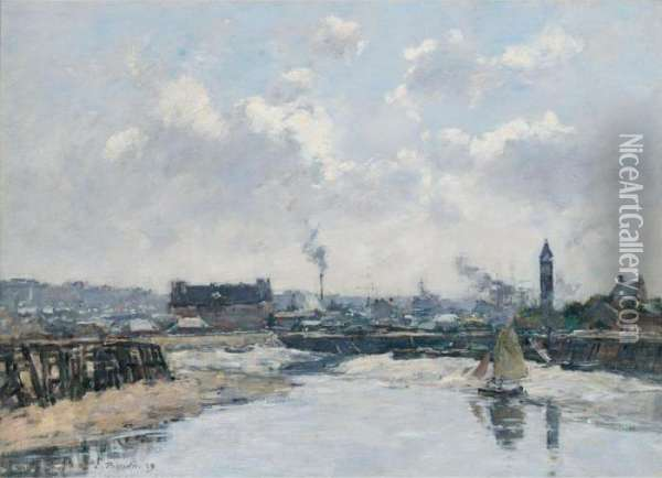 Trouville. Le Port Maree Basse, Le Matin Oil Painting - Eugene Boudin