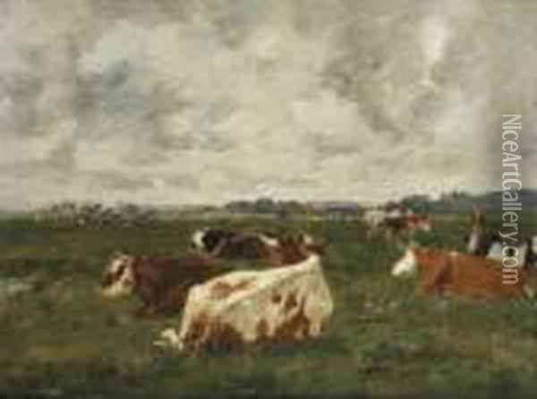 Vaches Au Pre Oil Painting - Eugene Boudin