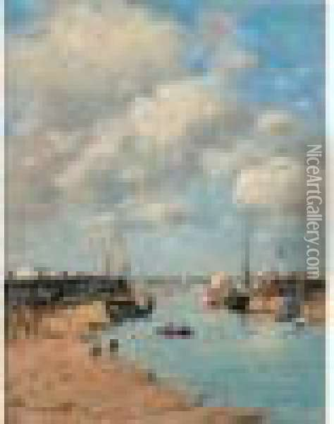 Trouville, Les Jetees, Maree Basse Oil Painting - Eugene Boudin