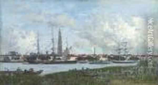 Anvers, Le Port Oil Painting - Eugene Boudin