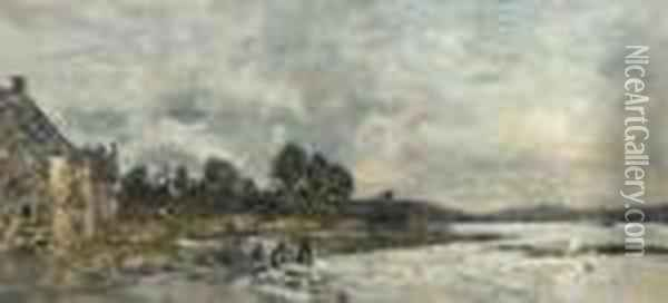 Hopital-camfrout. Le Rivage Oil Painting - Eugene Boudin