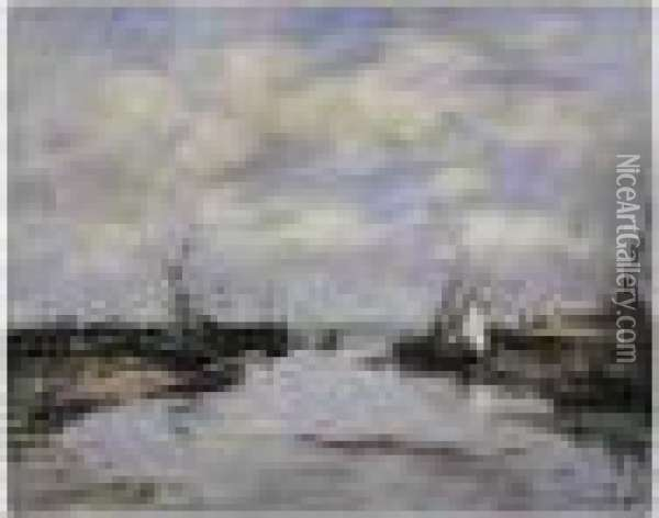 Trouville. Les Jetees. Maree Basse Oil Painting - Eugene Boudin