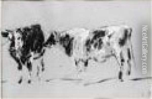 Deux Vaches Oil Painting - Eugene Boudin