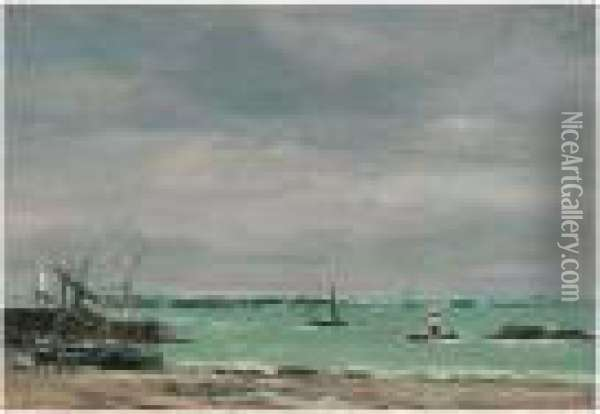 Portrieux, Le Port Maree Basse Oil Painting - Eugene Boudin