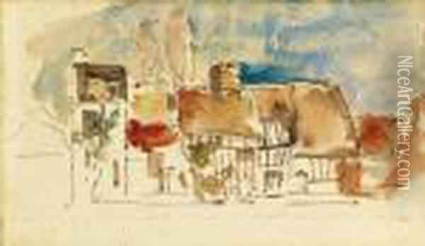 Cottages In Normandy Oil Painting - Eugene Boudin