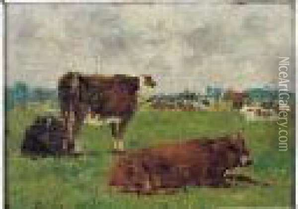 Vaches Au Paturage, Circa 1878-1882 Oil Painting - Eugene Boudin