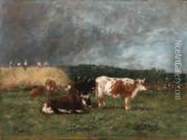 Les Meules, Vaches Au Pturage (haystacks, Cows In Thepasture) Oil Painting - Eugene Boudin