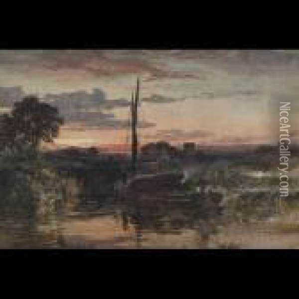 Barge Landing At Sunset Oil Painting - Samuel Bough
