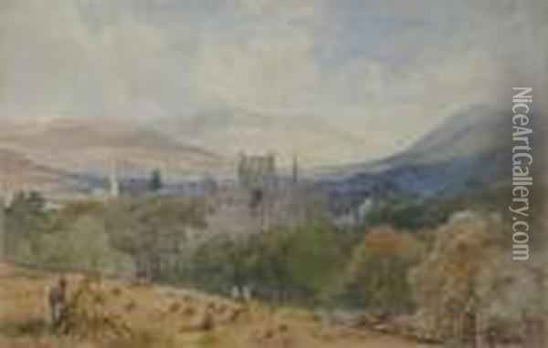 Melrose Abbey Wth Haystacks Oil Painting - Samuel Bough