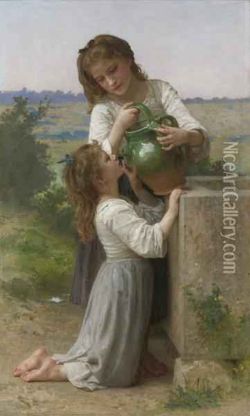 A La Fontaine (at The Fountain) Oil Painting - William-Adolphe Bouguereau