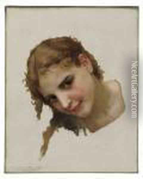 Head Study For Le Gue Oil Painting - William-Adolphe Bouguereau