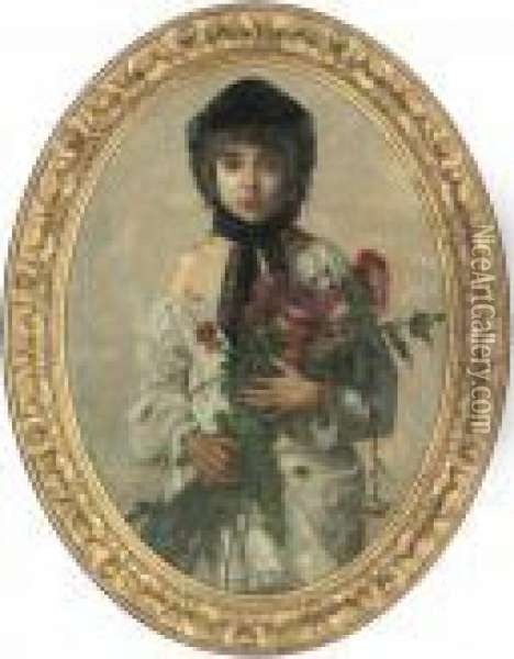 Portrait Of A Young Girl,  Half-length, In A Black Bonnet, Holding A Bunch Of Wild Flowers Oil Painting - William-Adolphe Bouguereau