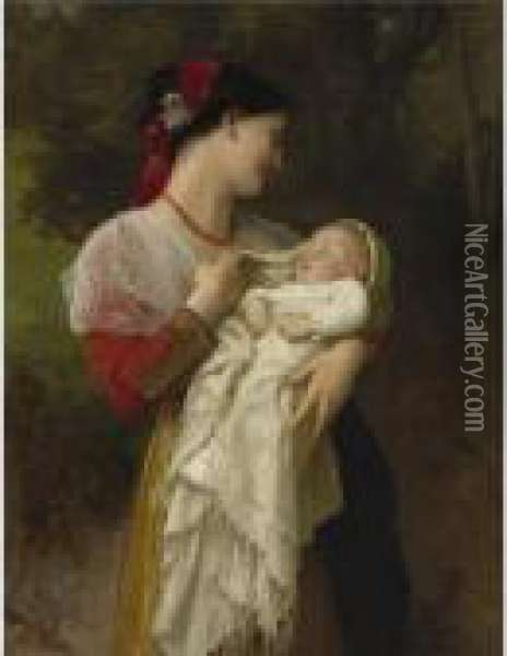 Admiration Maternelle Oil Painting - William-Adolphe Bouguereau