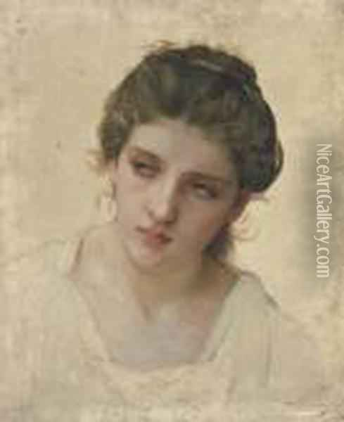 Etude De Tete De Femme Blonde, De Face Oil Painting - William-Adolphe Bouguereau