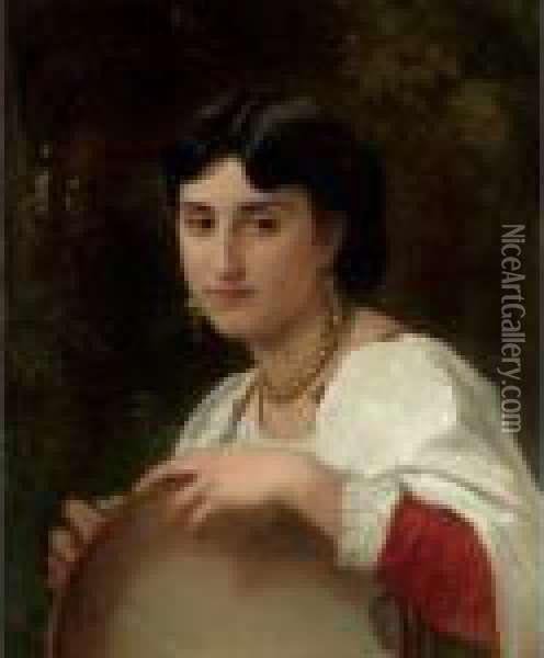L'italienne Au Tambourin Oil Painting - William-Adolphe Bouguereau