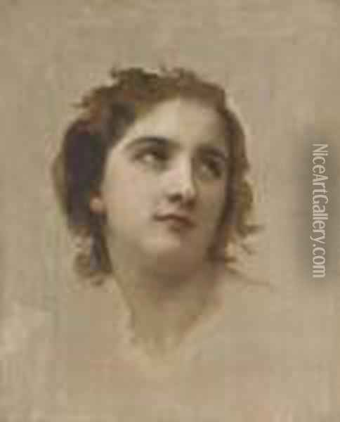 Study Of A Young Girl's Head Oil Painting - William-Adolphe Bouguereau