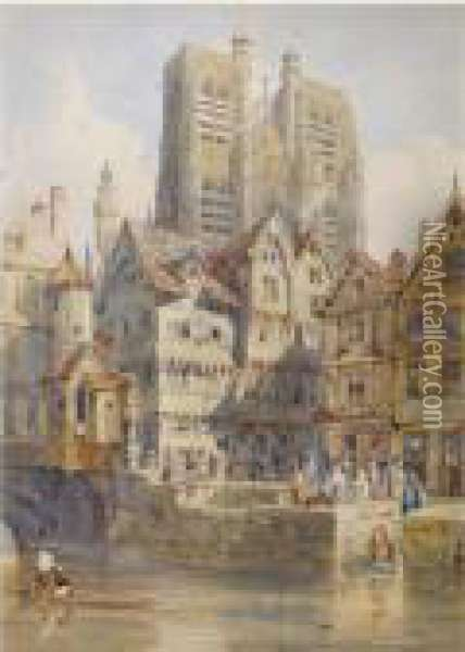Abbeville, With The Church Of St. Vulfran Collegiate Beyond Oil Painting - Thomas Shotter Boys
