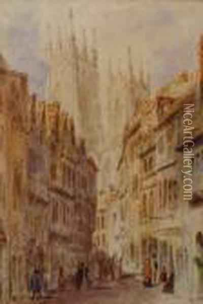 Street View Of York Minster Towers Oil Painting - Thomas Shotter Boys