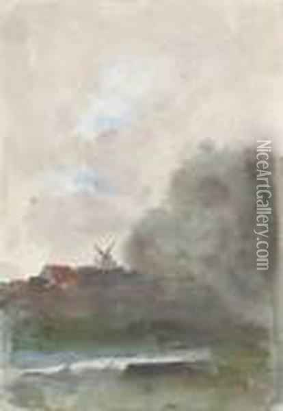 Windmill In A Landscape (after Mares) Oil Painting - Hercules Brabazon Brabazon