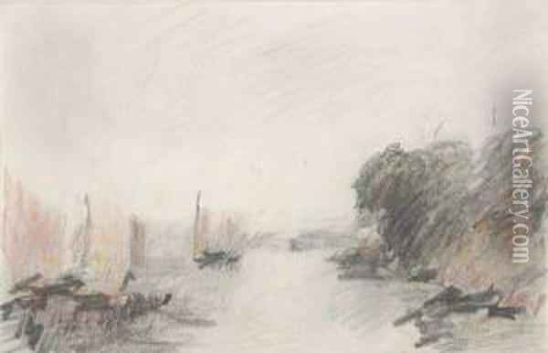 Cowes (after Turner) Oil Painting - Hercules Brabazon Brabazon