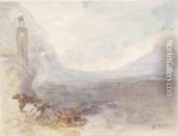 Coastal Scene (after Turner) Oil Painting - Hercules Brabazon Brabazon