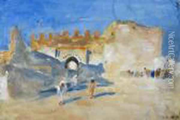North Africans By A Fortified Gate; Study Of Three Figures Oil Painting - Hercules Brabazon Brabazon