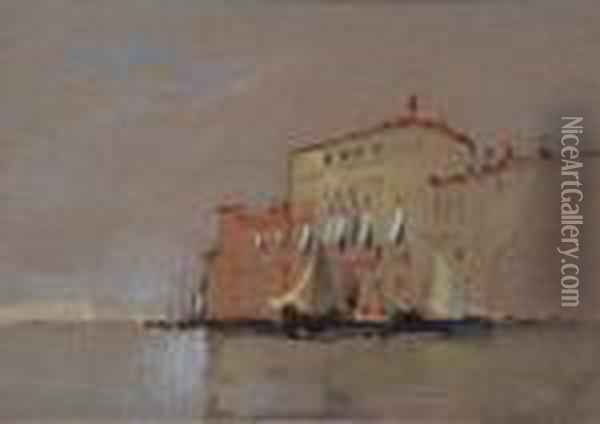 Venetian Canal Scene With Sailing Vessels And Buildings Oil Painting - Hercules Brabazon Brabazon