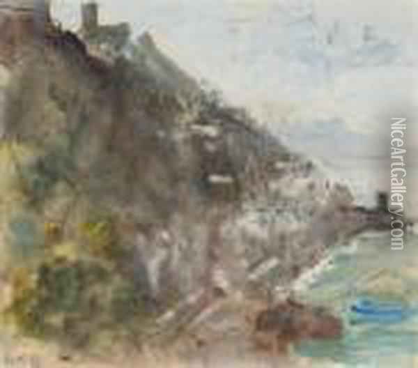 The Amalfi Coast, With A Castle On Top Of The Cliff Oil Painting - Hercules Brabazon Brabazon