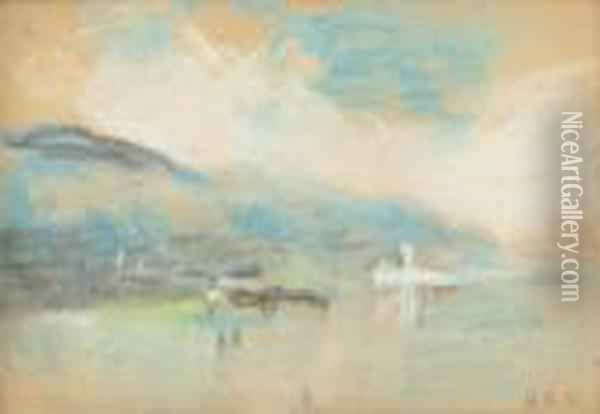 A Lake Set Against The Mountains: A Souvenir Of Turner Oil Painting - Hercules Brabazon Brabazon